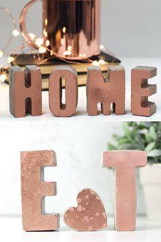 I love these concrete letters painted copper. Gorgeous home decor objects. #ad #concrete #letter #copper #homedecor #metalpaint #cement #initials #weddingdecor #housewarminggift