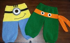Crochet Patterns Pants Crochet Crazy Character Monster Pants… Minion & Ninja Turtle… Newborn – 24 m… Crochet Bebe, Crochet For Boys, Cute Crochet, Knit Crochet, Crochet Baby Pants, Crochet Clothes, Knitting Patterns, Crochet Patterns, Sewing Patterns