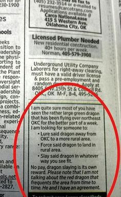 Thank you, Random Classified Ad Person. You put a smile on my face.