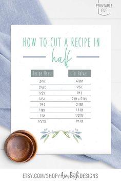 Printable Recipe Binder Kit How to Cut a Recipe in Half Printable - #recipebinderkit #recipekit #cookbook #recipeorganization #recipebook #cookbookorganization #printable #watercolorflorals #watercolor #flowers #diycookbook #diyrecipebook #familycookbook #familyrecipebook #cooking #baking #food #recipebinder #diy #printable #digitaldownload #halfarecipeprintable #halfarecipe #kitchenprintable #kitchenwallart #printablewallart Cut Recipe In Half, Half And Half Recipes, Planning Budget, Menu Planning, Homemade Recipe Books, Cookbook Organization, Frozen Birthday Invitations, Recipe Sheets, Recipe Cover