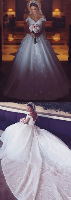 Glamorous Tulle Off-the-shoulder Neckline Ball Gown Wedding Dresses With Beaded Lace Appliques