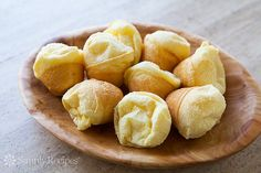 Simple and gluten-free Brazilian cheese bread, or Pão de Queijo, made with tapioca flour, milk, eggs, olive oil, and cheese.