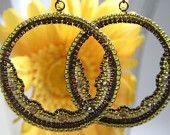 Crystal Embroidered Mosaic Bead Woven Oval Earring Hoops aqua green blue contour. $29.99, via Etsy.
