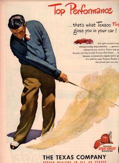 vintage golf golfer 1949 advertisement texaco.