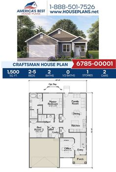 Newly exclusive to our website, Plan 6785-00001 is a stunning Craftsman design featured by 1,500 sq. ft., 2-5 bedrooms, 2 bathrooms, a kitchen island, an open floor plan and an office. Learn more about this exclusive Craftsman design on our website. Craftsman Style Homes, Craftsman House Plans, Master Room, Architectural Elements, Natural Materials, Square Feet, Art Decor, Floor Plans, House Design