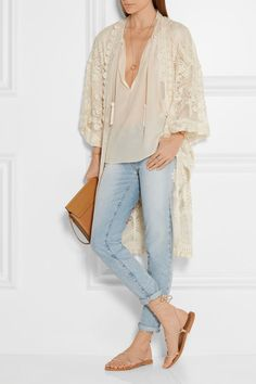 Anna Sui | Crochet-trimmed embroidered tulle kimono jacket | NET-A-PORTER.COM