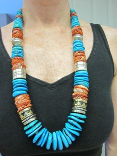 Native American Tommy Singer Sterling Silver 12K Gold Turquoise Coral Necklace | eBay