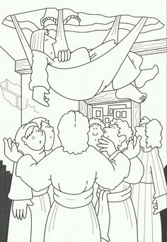 lamme dak Bible Story Crafts, Bible Stories, Bible Coloring Pages, Coloring Pages For Kids, Jesus Heals, Preschool Bible, Bible Pictures, Sunday School, Activities