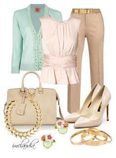 """Khakis with Pink and Mint"" by imclaudia-1 ❤ liked on Polyvore featuring Yves Saint Laurent, Tory Burch, Lauren Ralph Lauren, Paule Ka, Rupert Sanderson, ASOS, Les Néréides, Dsquared2 and Rochas"
