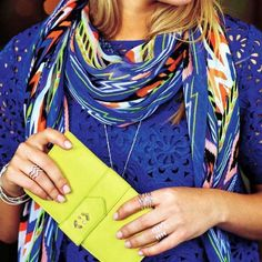 Pops of color...our favorite scarf comes in this dramatically beautiful array of bright colors...but that citrine wallet tho...