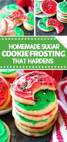 The best-tasting frosting for your sugar cookies! Homemade Sugar Cookie Frosting that Hardens is a delicious and easy Christmas cookie recipe. The perfect sugar cookie frosting for decorating! Bake these cookies for a cookie exchange party! Easy Christmas Cookie Recipes, Christmas Sugar Cookies, Christmas Cooking, Holiday Desserts, Holiday Baking, Christmas Treats, Holiday Foods, Christmas Cookie Icing Recipe That Hardens, Frosting For Christmas Cookies