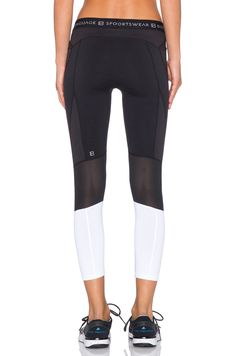 Body Language Elian Legging in Black & Honeycomb & White