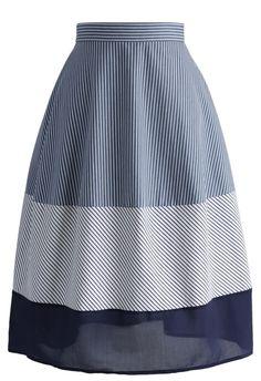 Midi Falda de Algodón Azul con Rayas - Retro, Indie and Unique Fashion