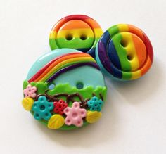 Rainbow buttons - set of 3 polymer handmade