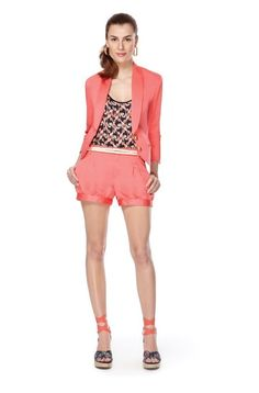 First Look: The Webster at Target - College Fashion Blazer And Shorts, Pleated Shorts, Coral Shorts, Coral Jacket, Orange Shorts, Fashion Showroom, Cute Blazers, Target Style, Budget Fashion