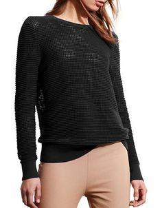 Lauren Ralph Lauren Open-Knit Shoulder-Zip Sweater Women's Black Large