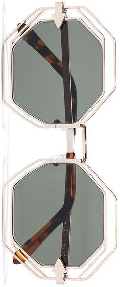 KAREN WALKER Emmanuel round-frame gold-tone sunglasses