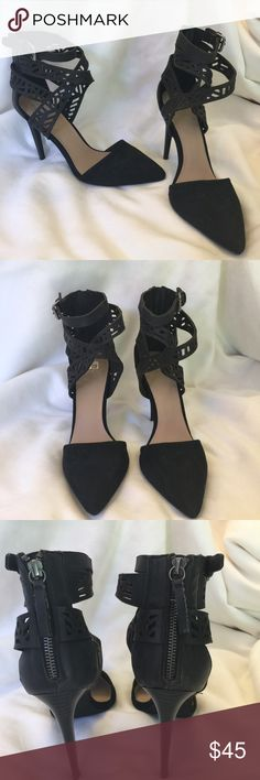 Worn on TV Joe's black suede leather strappy heels Joe's black suede and leather strappy heels. 4 inch heels. Size 11.code DVS gently used purchased from the set of the TV series Devious Maids. Joe's Jeans Shoes Heels