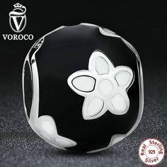Popular Sterling Silver 925 Black & White Enamel Mystic Flower Charm Fit Pandora Original Bracelet DIY Jewelry S092