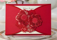 Red Flower Lace Wedding Invitation; Beautiful Fancy Floral Invitation Cards    About The Cards:  1) Item: Flower Wedding Invitation  2) Card Size: