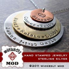 Children..... I want one!!!!!   Mother Necklace  Hand Stamped Jewelry  by wickedlymodpendants, $97.00