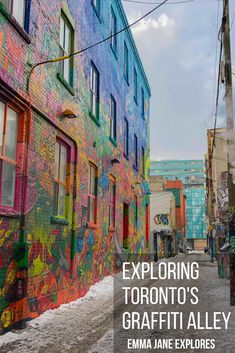 Your guide to exploring Toronto's Graffiti Alley is here. I'll guide you through Rush Lane with beautiful pictures to inspire your visit. Alberta Canada, Canada Travel, Travel Usa, Vancouver, Toronto Street, Emma Jane, Visit Canada, Explore Travel, Scenic Photography