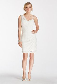 Short Lace Dress with Sheer Mesh Overlay by David's Bridal. Style 46611, lace dress with sweetheart neckline and sheer mesh overlay, $79.95, DB Studio available at  David's Bridal