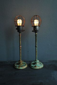 Cool standing lamp with industrial eclectic look,  vintage base, open exposed bulb lamp, lighting ideas for the house