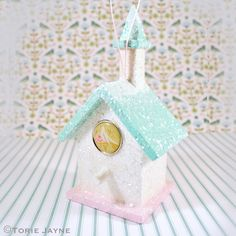 Glittery Snow Bird House tutorial by Torie Jayne