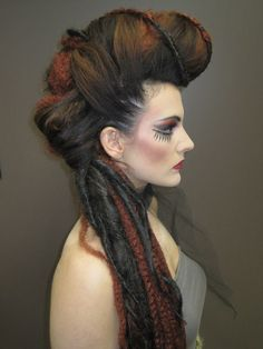 dreads, pompadour, avante garde, dramatic, makeup, red, weave, photoshoot, awesome, cool, funky, lashes, evil