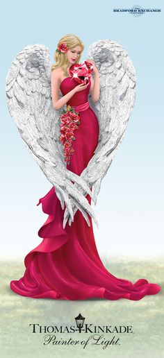 Thomas Kinkade Angel Figurines Support Women's Heart Health The beauty of love blossoms in these heavenly beings! Inspired by the artistry of Thomas Kinkade, these stunning angel figurines help aid heart health education and awareness programs. Thomas Kinkade Art, Fairy Figurines, Angels In Heaven, Victorian Women, Angel Art, Elegant Woman, Vintage Ladies, Decoupage, Heart Health