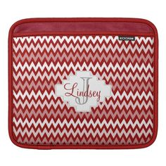 Zig Zag Pattern Red with Monogram Sleeve For iPads