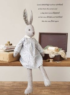 Learn how to sew your own felt rabbit + her exquisite wardrobe including 20 garment and accessory sewing patterns.