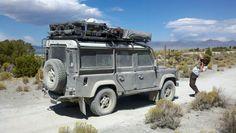 Defender on way to Burning Man. Mono Lake CA USA