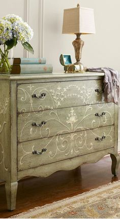 Painted Furniture - Chest with Decorative Painted Design