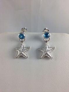 Sterling Silver.925 Starfish Earrings & Bezel Set Blue Topaz-posts- NEW #GianniDeloro #DropDangle
