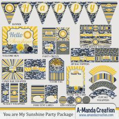 You are My Sunshine Party Printable Bundle by #AmandaCreation, includes 12 different printables to coordinate your whole sunshine party.