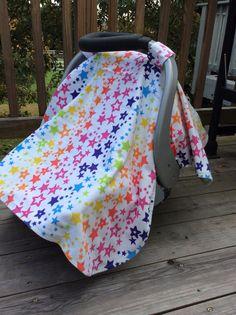 Rainbow, stars, flannel car seat canopy