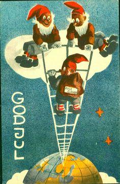 Julekort Kjell Aukrust  Utg J. H. Küenholdt A/S 1938 Nisser klatrer på stige fra en sky og ned til jorden, den ene med en sekk merket julegaver. Christmas Postcards, Christmas Cards, Norway, Movie Posters, Sky, Christmas E Cards, Heaven, Xmas Cards, Film Poster