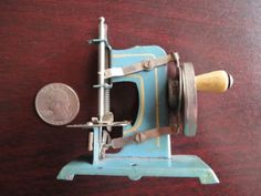 Antique BLUE Lilliputian German Toy Sewing Machine - 3 inches tall!