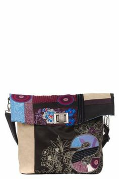 Desigual Women's Ibiza Patch bag. Twist lock. Adjustable and detachable strap. 1 interior compartment and 1 outer pocket with zip. It measures: 41x33x12 cm. / 15.99