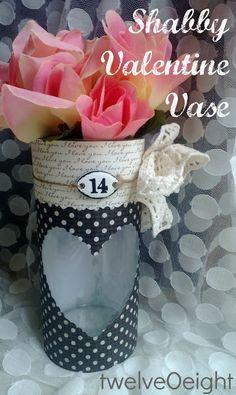 Shabby Valentine Vase-twelveOeight #dollar store #craft #valentine craft #valentine gift