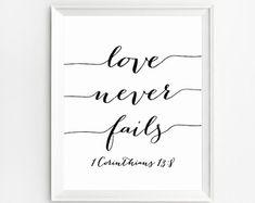 Love Never Fails Bible Verse Art Love Never Fails by NUAGEshop