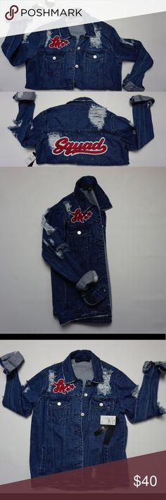 Denim distressed jacket Cute distressed jacket! Cute detailing on the back. Tinsel Jackets & Coats Jean Jackets