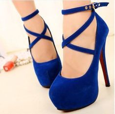Women's Sexy Pumps blue Vintage Red/Black Bottom Platform Strappy High Heels Party Shoes  Women's Shoe Sizes Conversion ...