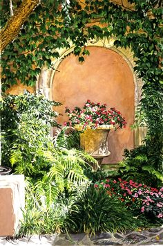 A Sunny Nook Hotel Bel - Air by David Lloyd Glover ~ watercolor floral & shrubs