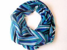 chevron infinity scarf chiffon fabric  eternity scarf  by seno, $19.00