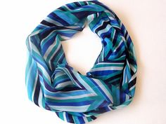 chevron infinity scarf chiffon fabric  eternity scarf  by seno, $19.00