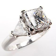 1.37 Carat Princess Cut Diamond Engagement Ring w/ Triangle Accents Platinum
