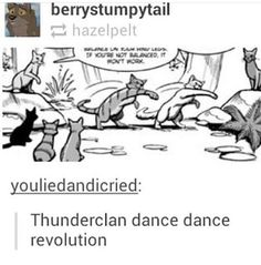 Dance, dance, we're falling apart to half time dance, dance And these are the lives you'd love to lead Dance, this is the way they'd love If they knew how misery loved me Warrior Cats Funny, Warrior Cats Comics, Warrior Cat Memes, Warrior Cats Series, Warrior Cats Books, Warrior Cat Drawings, Warrior Cats Fan Art, Cat Comics, Warriors Memes